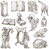 Halloween, Monsters, Magic - Hand drawn pack on white Royalty Free Stock Photos