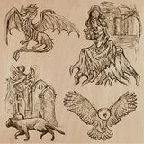 Halloween, Monsters, Magic - Vector collection. Halloween (Monsters, Magic and Fairy Tales) - Collection (no.5) of an hand drawn illustrations. Description: Each Royalty Free Stock Photos