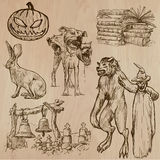 Halloween, Monsters, Magic - Vector collection. Halloween (Monsters, Magic and Fairy Tales) - Collection (no.9) of an hand drawn illustrations. Description: Each Royalty Free Stock Photos