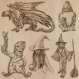 Halloween, Monsters, Magic - Vector collection. Halloween (Monsters, Magic and Fairy Tales) - Collection (no.10) of an hand drawn illustrations. Description Royalty Free Stock Photo
