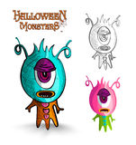 Halloween monsters one eye creature EPS10 file. Stock Images