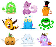 Halloween Monsters Pack. A vector illustration of cute funny and scary monsters for Halloween Royalty Free Stock Photo