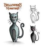 Halloween monsters scary cartoon black cat EPS10 f Royalty Free Stock Photos
