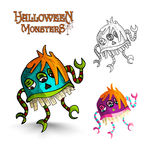 Halloween monsters scary cartoon freak EPS10 file. Stock Photography