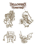Halloween monsters scary sketch style cartoons set Stock Images