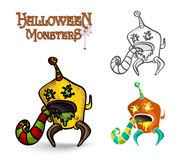 Halloween monsters spooky creature illustration EPS10 file Stock Image