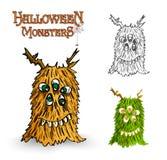 Halloween monsters spooky creature illustration EPS10 file Stock Photo