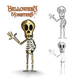 Halloween monsters spooky human skeleton EPS10 file. Stock Photos