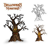 Halloween monsters spooky tree illustration EPS10 file royalty free stock photo