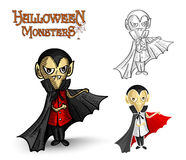Halloween monsters spooky vampire illustration EPS Royalty Free Stock Photo