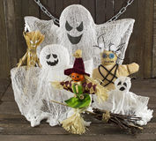 Halloween monsters. Halloween still life with ghosts and monsters on wood Stock Photos