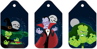 Halloween monsters tags Stock Photography