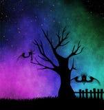 Halloween monsters. Tree. Starry night Stock Photo