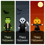 Halloween Monsters Vertical Banners [2]. A collection of three happy Halloween vertical banners with Frankenstein in a green night, Grim Reaper holding a scythe vector illustration