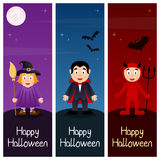 Halloween Monsters Vertical Banners [1] Stock Images