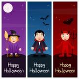 Halloween-Monsters Verticale Banners [1] Stock Afbeeldingen