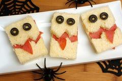 Halloween-monstersandwiches Stock Afbeeldingen