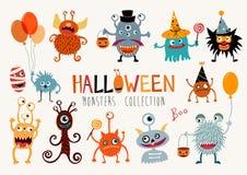 Halloween-monstersinzameling Stock Fotografie