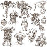 Halloween, monstruos, magia - dé el paquete exhausto en blanco Foto de archivo
