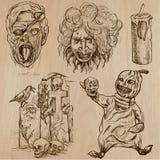 Halloween, monstruos, magia - Vector la colección Foto de archivo