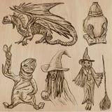 Halloween, monstruos, magia - Vector la colección Foto de archivo libre de regalías