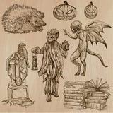 Halloween, monstruos, magia - Vector la colección Imagen de archivo