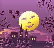 Halloween moon. This night even the moon looks like pumpkin Stock Image