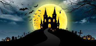 Halloween on the moon background Stock Image