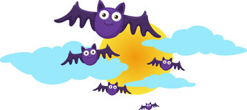 Halloween moon and bats Stock Image