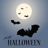 Halloween moon and bats Royalty Free Stock Photo