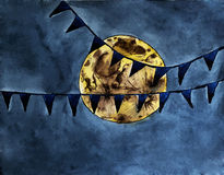 Halloween moon in the dark sky vector watercolor painting. Magic halloween full moon with flags in the dark sky - vector watercolor painting Royalty Free Stock Photography