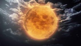 The Halloween moon. Pumpkin orange color of the Halloween moon stock footage