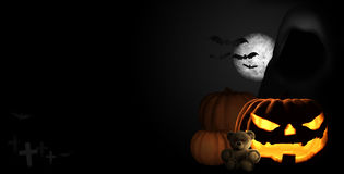Halloween moon. pumpkins halloween baits 3d render Royalty Free Stock Photos