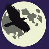 Halloween Moon and raven Stock Photo