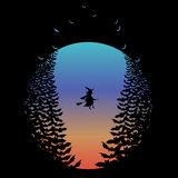 Halloween moon with witch and bats, vector Royalty Free Stock Photography