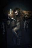 halloween Moskwa, CZERWIEC – 22, 2013 – Wieki średni Czarownica znak werdykt Inquisit Obraz Stock