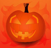 Halloween, the most terrible and terrifying celebration. An evil pumpkin on the orange background for Halloween, vector illustration Royalty Free Stock Image