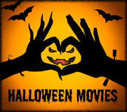 Halloween Movies Shows Trick Or Treat And Cinema. Halloween Movies Representing Trick Or Treat And Picture Show Stock Photo