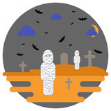 Halloween mummies in the background cemetery with crosses and bats. Mummies in the background cemetery with crosses and bats. Vector illustration for the Royalty Free Stock Photo