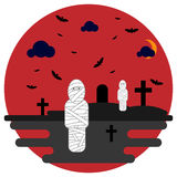 Halloween mummies in the background cemetery with crosses and bats. Mummies in the background cemetery with crosses and bats. Vector illustration for the Royalty Free Stock Photography