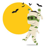 Halloween Mummy. Cute Halloween cartoon character / Mummy with bats Royalty Free Stock Photo
