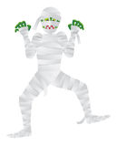 Halloween Mummy with Green Fingers Illustration. Halloween Mummy Cartoon with Green Fingers Isolated on White Background Illustration Royalty Free Stock Image