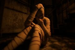 Halloween mummy in haunted house. Or woman with bandages on her in abandoned building,3d illustration stock illustration