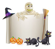 Halloween Mummy Scroll Sign Stock Images