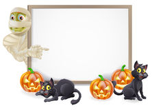 Halloween Mummy Sign. Halloween sign or banner with orange Halloween pumpkins and black witch's cats, witch's broom stick and cartoon Egyptian mummy character royalty free illustration