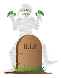 Halloween Mummy with Tombstone Illustration Royalty Free Stock Photography
