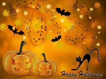Free Halloween Music Card With Two Pumpkins Stock Image - 159073181
