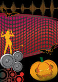 Halloween Music Disco Party Flyer Poster. Halloween party flyer for disco Stock Photo