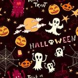 Halloween-Muster mit Geistern, Monster Stockfotografie