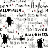 Halloween-Muster mit Geistern, Monster Stockbild